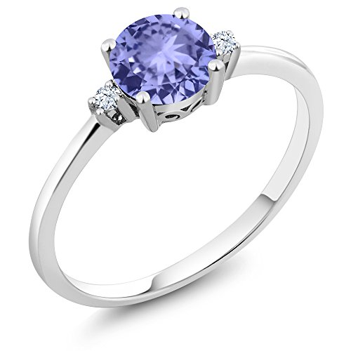 Gem Stone King 10K White Gold Engagement Solitaire Ring set with 0.93 Ct Round Blue Tanzanite and White Created Sapphires (Size 8)