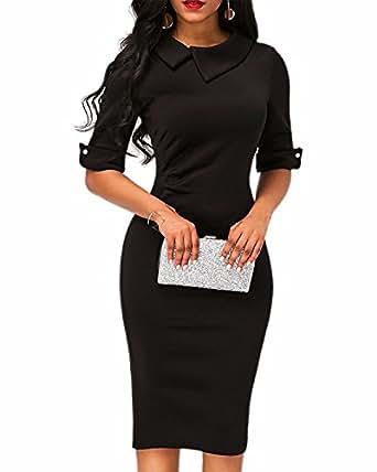 BIUBIU Womens Retro Bodycon Below Knee Formal Office Dress with Back Zipper Black S