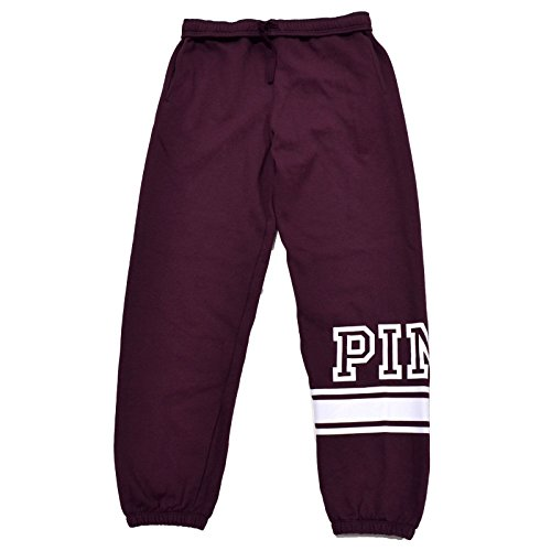 Victoria's Secret PINK NEW Logo Campus Pant Burgundy Nwt (Small)