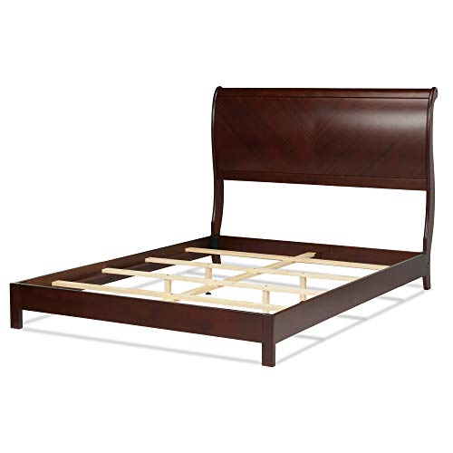 (Leggett & Platt Bridgeport Complete Wood Bed and Bedding Support System with Curved Sleigh Headboard, Espresso Finish,)