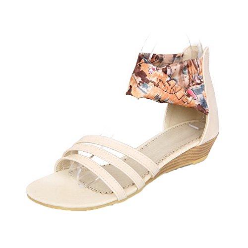 AalarDom Mujer Cremallera Puntera Abierta Mini Tacón Sólido Sandalias de vestir Beige