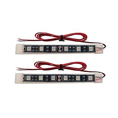 Universal Motorcycle LED Light Flexible Strip - Third Brake Light License Plate Tail Brake Stop Turn Signal Running Lights Bright 6 SMD Strip Light Bar(Red, 2 pcs, 4.5inch): Automotive