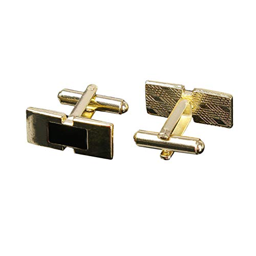 - Men Toggle Enamel Cufflinks Geometric Cuff Buttons Shirt Tuxedo Suit Accessory (Black Gold Rectangle)