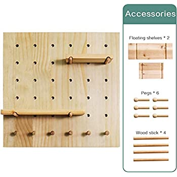 Creation Core Wooden Pegboard with 2 Floating Shelves & 6 Pegs Hooks Wall Storage Organizer System for Office Home Kitchen Decor 15.7x15.7, Natural