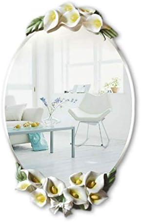 AMAZACER (:ホワイト、サイズ:67 * 40センチメートル色)ミラー装飾鏡壁掛けミラードレッシングカウンターバニティミラーメイクアップミラーヨーロッパの浴室の鏡防水防曇浴室鏡ポーチ (Color : White, Size : 67*40cm)