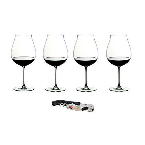 Riedel Veritas Leaded Crystal New World Pinot Noir 4 Piece Wine Glass Set with Bonus BigKitchen Waiter's Corkscrew