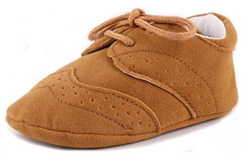 Anrenity Toddlers for Girls Boys Lace up Moccasins Prewalker Sneakers Christening Baptism Dress Shoes JDX-001BR Brown 0-6 Months ()