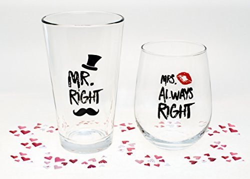 Funny Wedding Gifts - Mr. Right and Mrs. Always Right Novelty Wine Glass & Beer Glass Combo - Engagement Gift for Couples by The Plympton Company (Image #3)