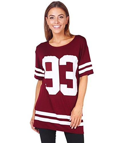 Football Jersey Dress (KRISP Long Baseball '93' Print T-shirt (Wine (6803), UK 8 / US 4 / EU 36),[6803-WIN-08])