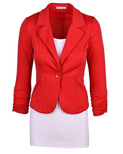 De De Un Blázer Moollyfox Pecho La Mujer Abrigo Solo Casual L Rojo x5xTqI