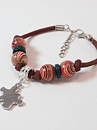 Autism Wooden Beaded Bracelet Hand Painted Multi Colored 6-8 Inch 1 ()