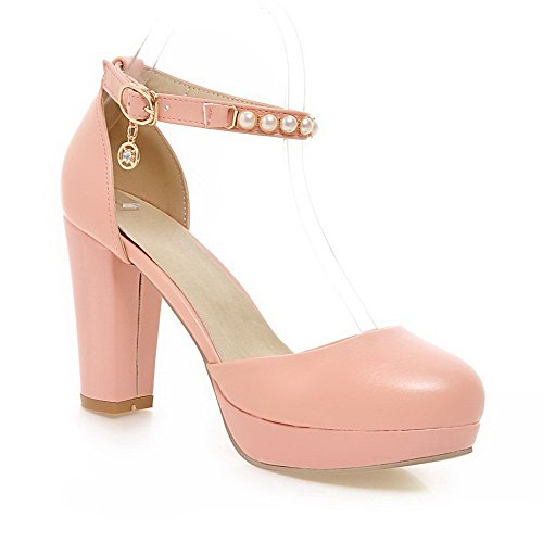 Closed Heels High Women's Solid Pumps Round WeenFashion Pink Pu Shoes Buckle Toe Uw0SqW1tF