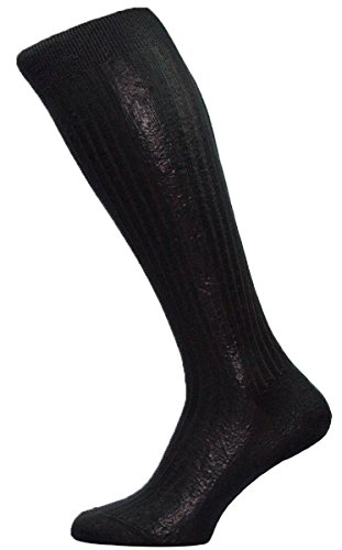 Pantherella Mens Baffin Rib Over the Calf Silk Socks - Black - ()