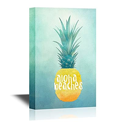 Canvas Wall Art - Yellow Pineapple with The Words Aloha Beaches - Giclee Print Gallery Wrap Modern Home Art | Ready to Hang - 16x24 inches