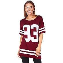 KRISP Womens Fashion Baseball Chicago Letter Oversize Jersey Shirt Top