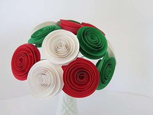 12 Italy Pride Roses on Stems, 1.5 Inch Paper Flower Bouquet, Mexican Theme Wedding, Italian Pizzeria Decor