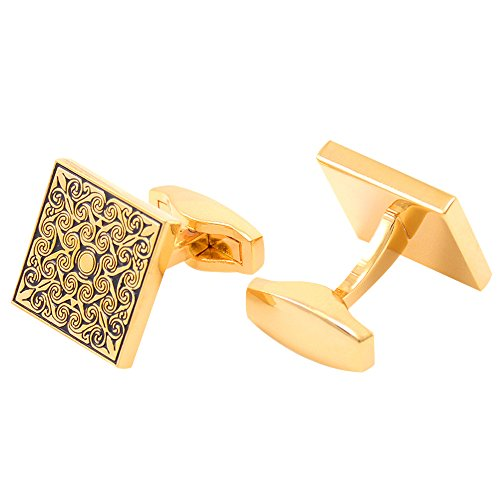 (Men's Golden Vintage Square Roman Pattern French Shirt Business Elite Cufflinks)