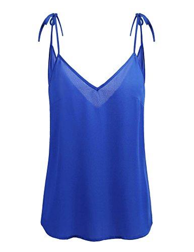 - Concep Women's Backless Tank Top Basic V Neck Cami Summer Shirt Sleeveless Top (Royal Blue XXL)
