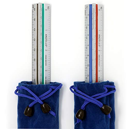 Anzello Aluminum Architect and Engineer Scale Rulers Set - Scales Imperial 12 inch Drafting Metal - Architect Scale Aluminum Drafting