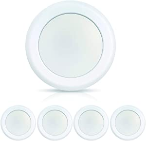 ECOELER LED Disk Light, 7.5inch Flush Mount Ceiling Light Fixture, Aluminum Baffle Trim