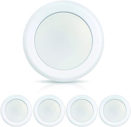 ECOELER 4Pack 6 Inch LED 5000K Low Profile Recessed Surface Mount Disk Light