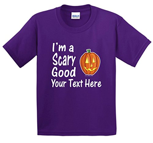 Custom Costume Contact Lenses (Custom Hallowen Costume Personalized Halloween I'm a Scary Good Your Text Youth T-Shirt Small Prpl)