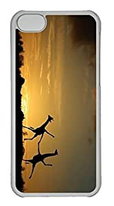 Customized iphone 5C PC Transparent Case - Sunset Scense Cover