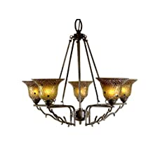 Dale Tiffany TH101050 Multicolored Tamar Chandelier, 25-Inch by 27-Inch, Mica Bronze Finish and Glass Shade