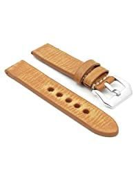 StrapsCo Extra Long 22mm Tan Thick Distressed Vintage Leather Watch Band w/ Pre-V Buckle