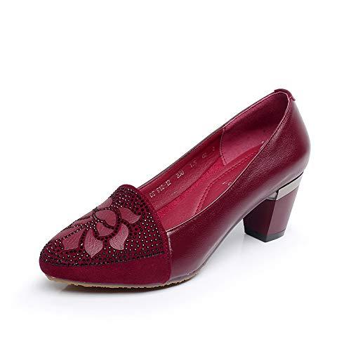 Trabajo D Cuero de de señoras Casuales FLYRCX Grueso tacón Puntiagudos Zapatos de Las Zapatos Zapatos de Zapatos gOpqwawxF4