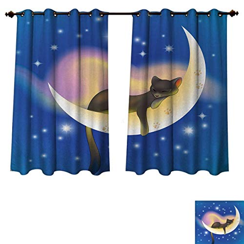Anzhouqux Cat Blackout Curtains Panels for Bedroom Cat Sleeping on Crescent Moon Stars Night Sweet Dreams Themed Kids Nursery Design Decor Curtains Blue Yellow W55 x L63 - Dreams Curtains Sweet