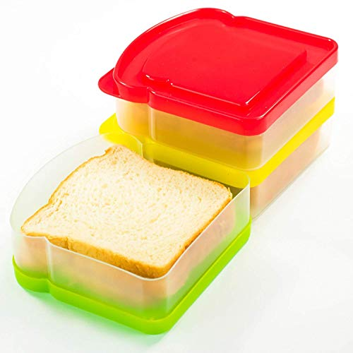 DecorRack 3 Pack Sandwich Containers -BPA FREE- Plastic Sandwich Box for Kids, Food Storage Container for Lunch and Snacks (Assorted) (Sandwich Containers For Kids)