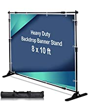 AkTop 10 x 8 ft Heavy Duty Backdrop Banner Stand Kit, Adjustable Photography Step and Repeat Stand for Parties, Portable Trade Show Photo Booth Background with Carrying Bag