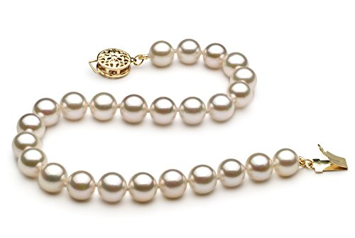 Blanc 6-7mm AA-qualité Akoya du Japon 585/1000 Or Jaune-Bracelet de perles