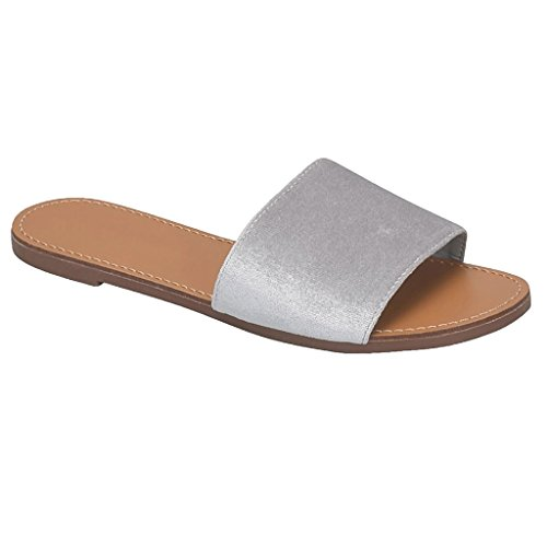 Womens Simple Single Strap Slide On Flat Slipper Sandal Grey LOPAZ