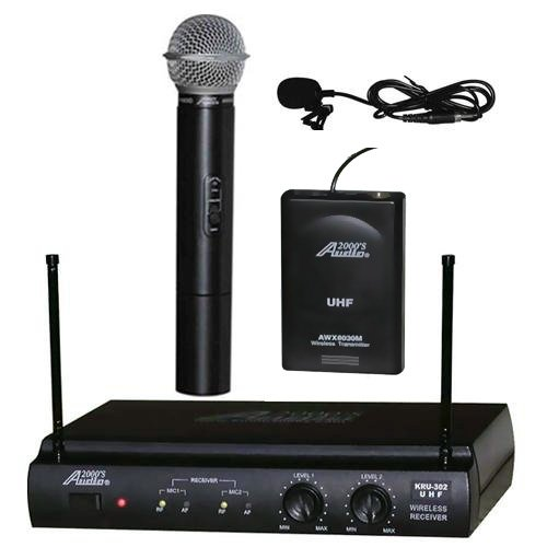 Audio2000 AWM-6032UL UHF Dual Channel Wireless Microphone System with One Handheld & One Lapel (Lavalier) (Dual Channel Handheld)