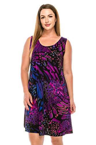 (Jostar Stretchy Missy Tank Dress with Print in Abstract Design Purple Color in Medium)
