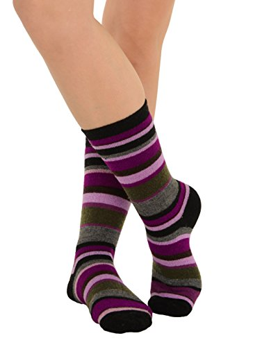 Cashmere Blend Striped Socks Crew 9 Colors Available Womens Soft and Warm