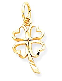 ICE CARATS 10k Yellow Gold Shamrock Pendant Charm Necklace Good Luck Italian Horn Fine Jewelry Gift Set For Women Heart