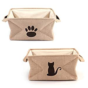 Tosnail 2 Pack Collapsible Jute Storage Bin Nursery Baskets with Leather Handle - Great for Bedroom, Closet, Toys and Cat