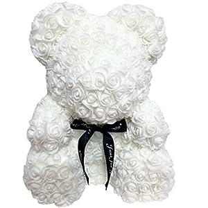 TOBABYFAT 16″ Teddy Bear Rose Toy Forever Artificial Rose Love Romantic Rose Everlasting Flower for Anniversary Christmas Valentines Birthday Gift (16 inch, White)
