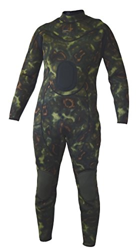 Camouflage Wetsuit Spearfishing Green Camo 3mm Back Zip Jumpsuit Fullsuit - Jumpsuit Back Zip