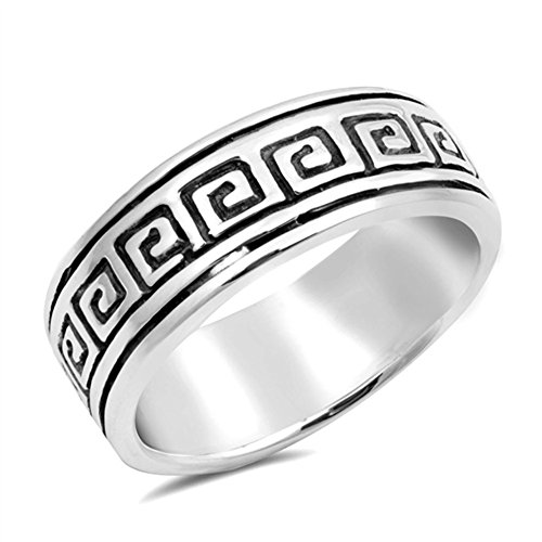 (Oxidized Etched Greek Key Wedding Ring New .925 Sterling Silver Band Size 7)