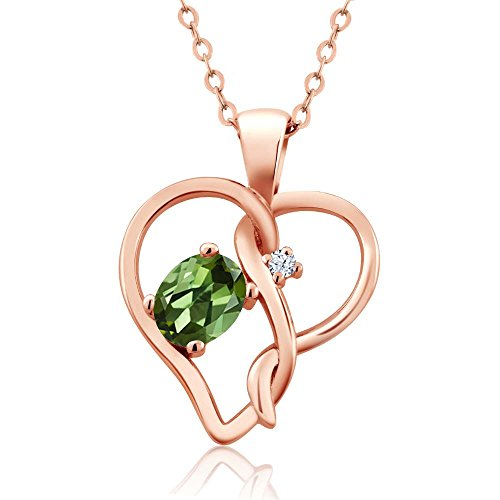 - Gem Stone King 0.51 Ct Oval Green Tourmaline White Topaz 18K Rose Gold Plated Silver Pendant