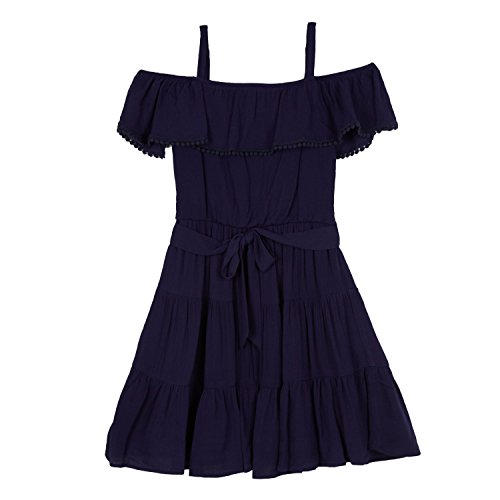Amy Byer Big Girls' Off The Shoulder Dress, Sea Navy, 14 -