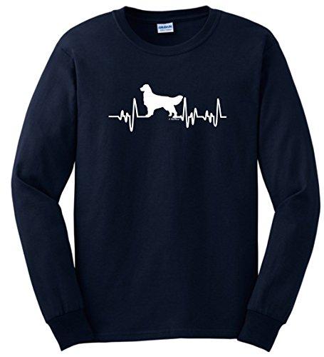 Golden Retriever Shirt Golden Retriever T-Shirt Golden Retriever Gifts Dog Lover Heartbeat Long Sleeve T-Shirt Large Navy