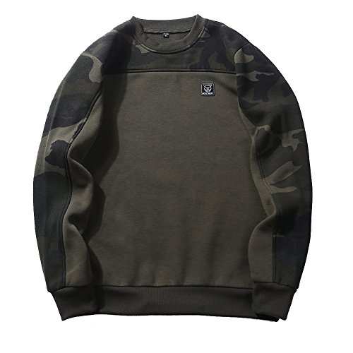(Men's Casual Camo Contrast Raglan Fleece Sweatshirt Pullover Tops XL Army Green)
