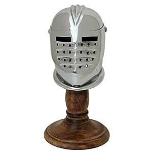 Medieval Miniature Maximilian Steel Helmet Display and Wooden Stand