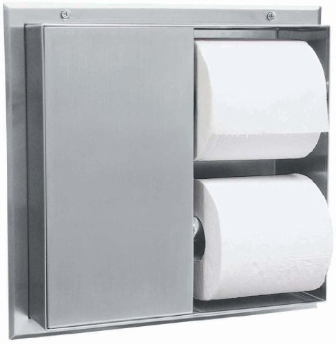 Bobrick 386 304 Stainless Steel Partition-Mounted Multi-Roll Toilet Tissue Dispenser with 2 Toilet Compartments, Satin Finish, 13-1/4'' Width x 10-9/16'' Height by Bobrick