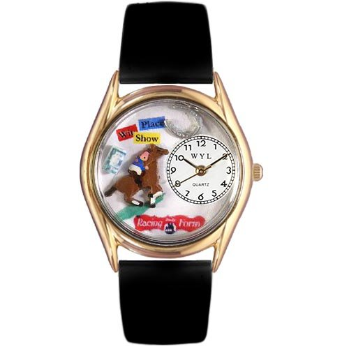 Price comparison product image Whimsical Watches Kids' C0810007 Classic Gold Horse Racing Black Leather And Goldtone Watch